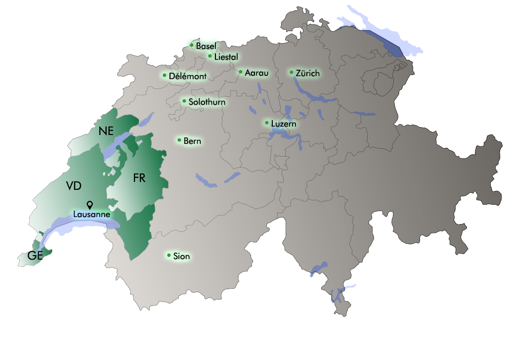 Map of Switzerland with French-speaking cantons and major cities.