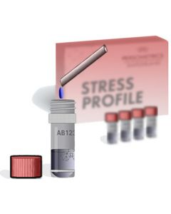 Our hormone test-kit for the Persometrics Stress Report, giving tailored advice on stress and burnout.