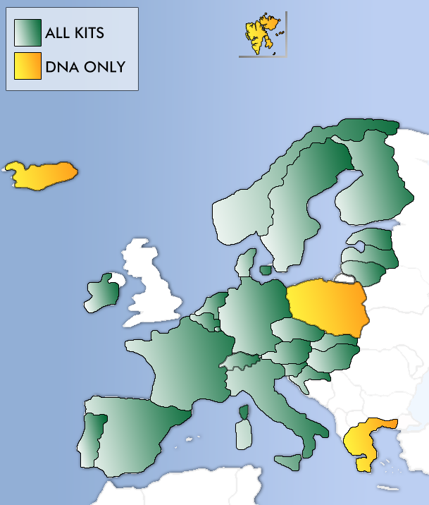 Hormone analysis map of Europe with shipping colour codes